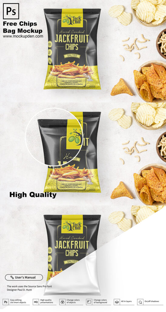 Free Chips Bag Mockup PSD Template