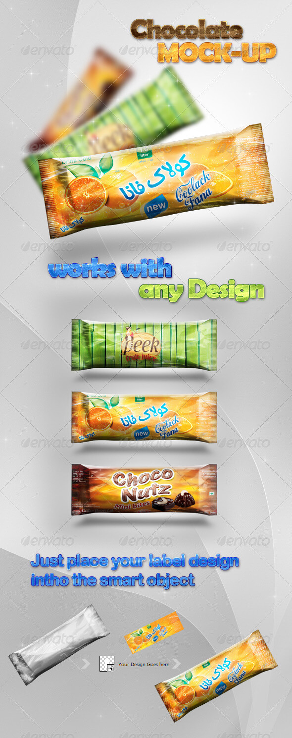 Chocolate And Candy Bar Design Mockup.