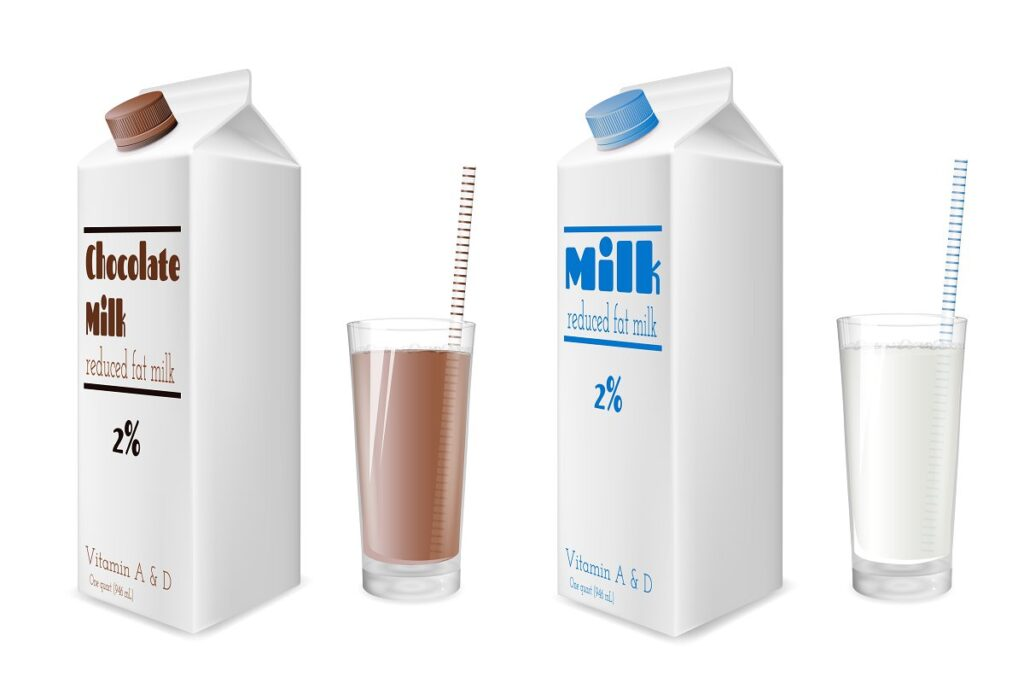Chocolate And Simple Milk Shake Carton And Glass Illustration