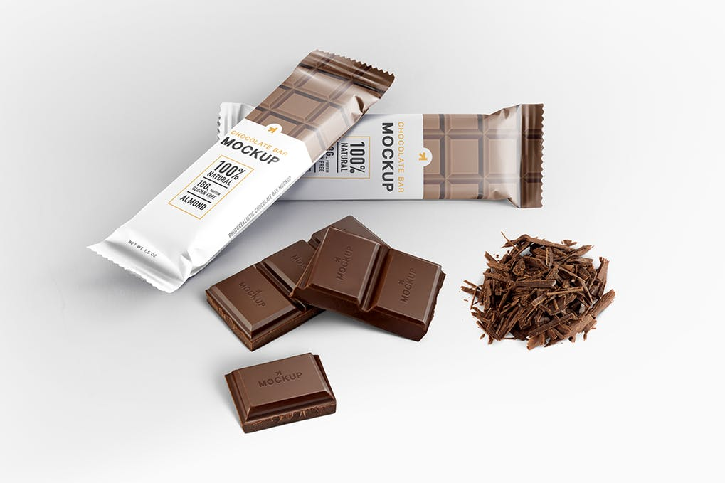 Chocolate Packet And Chocolate Cubes Mockup