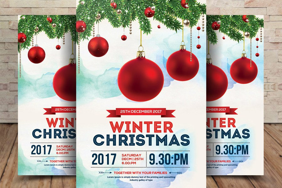 Christmas Party Flyer Mockup In Winter Scene Decoration
