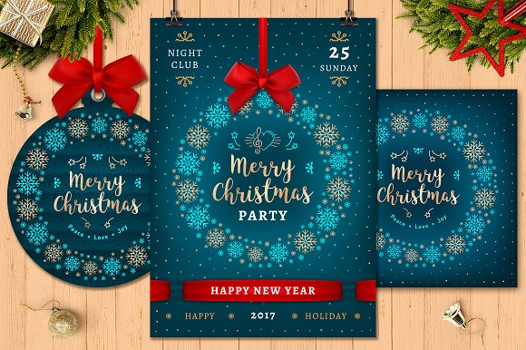Christmas Party Multiple Shape Business Card And Tag design Mockup