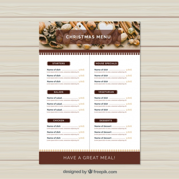 Christmas Time Menu Card Mockup