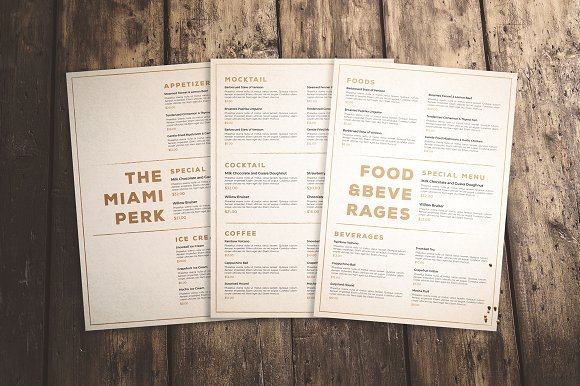 Clean And Classic Menu Mockup