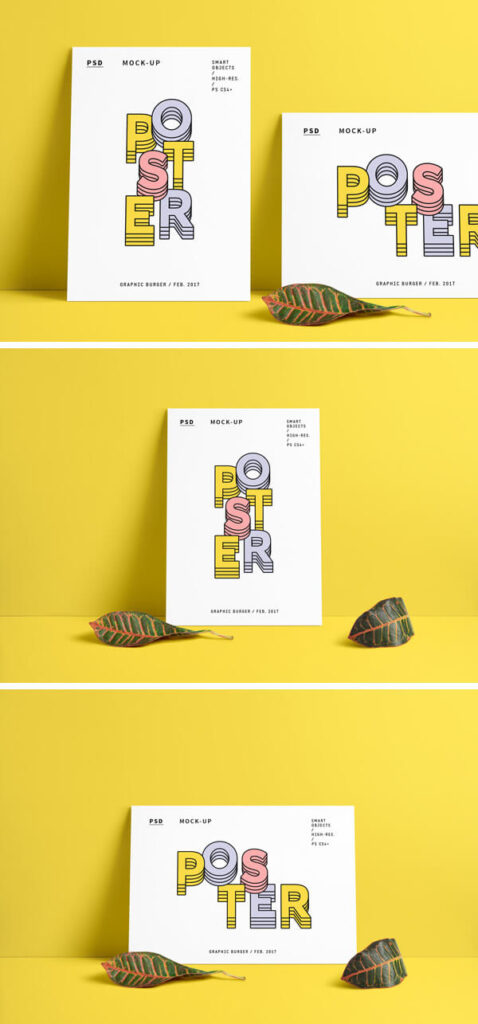 Clean White Poster Featuring Yellow Background
