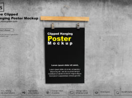 Free Clipped Hanging Poster Mockup PSD Template