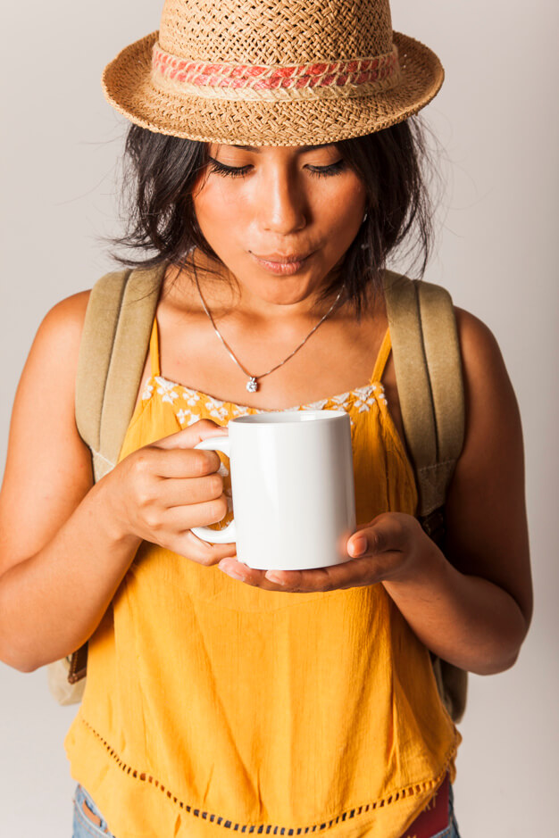 Close View Of Tourist Woman With Travel Mug Mockup