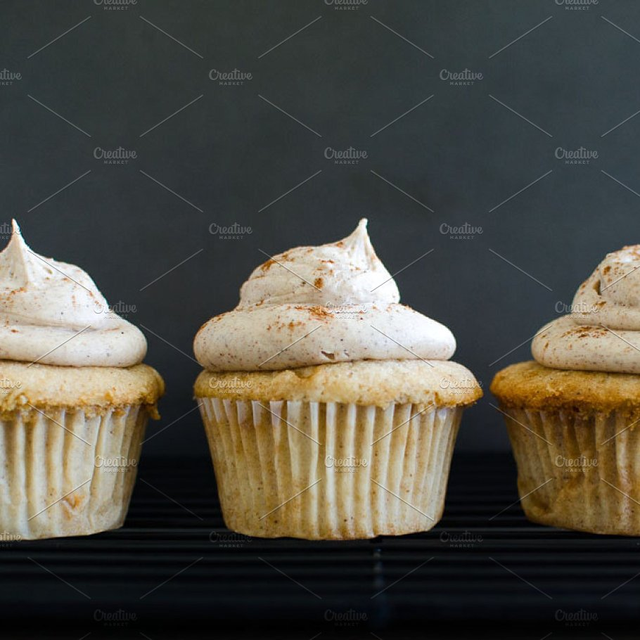 Close view of small cupcakes PSD Mockup