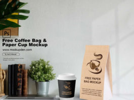 Free Coffee Bag & Paper Cup Mockup PSD Template