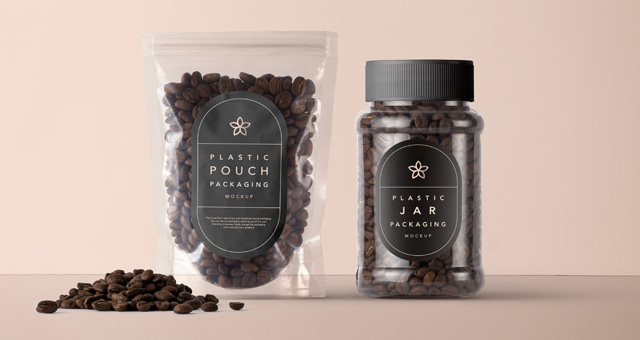 Coffee Beans Packaging Plastic And Box Mockup