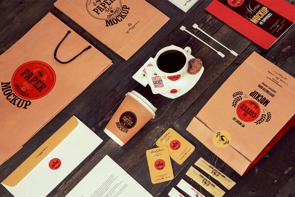 Coffee Beans Packing Paper Bag And Cup Illustration
