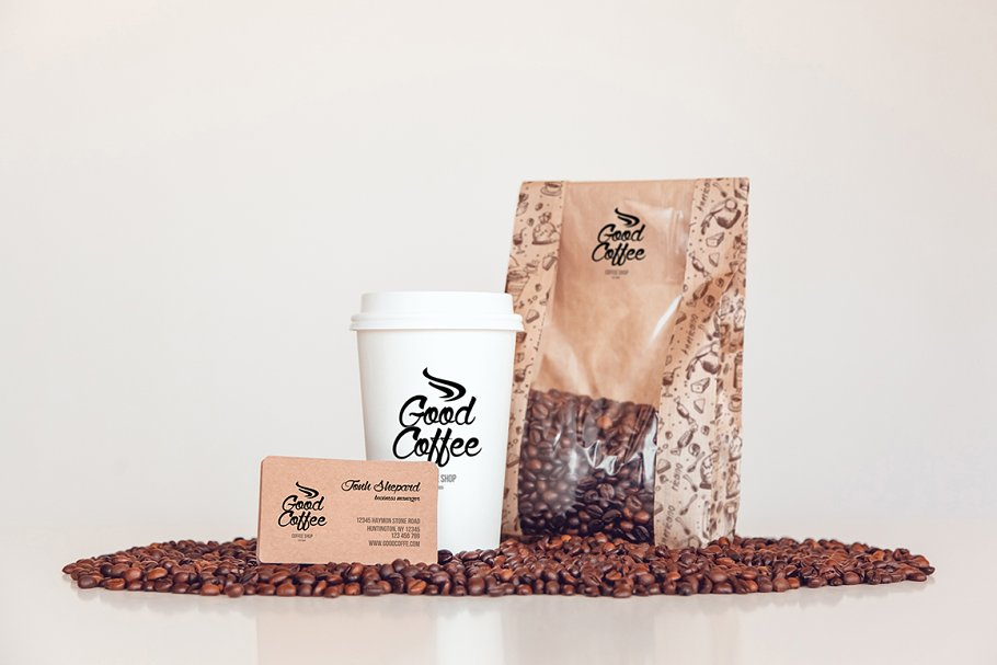 Coffee Cup And Packet Illustration Along With Coffee Beans Spreaded All Around