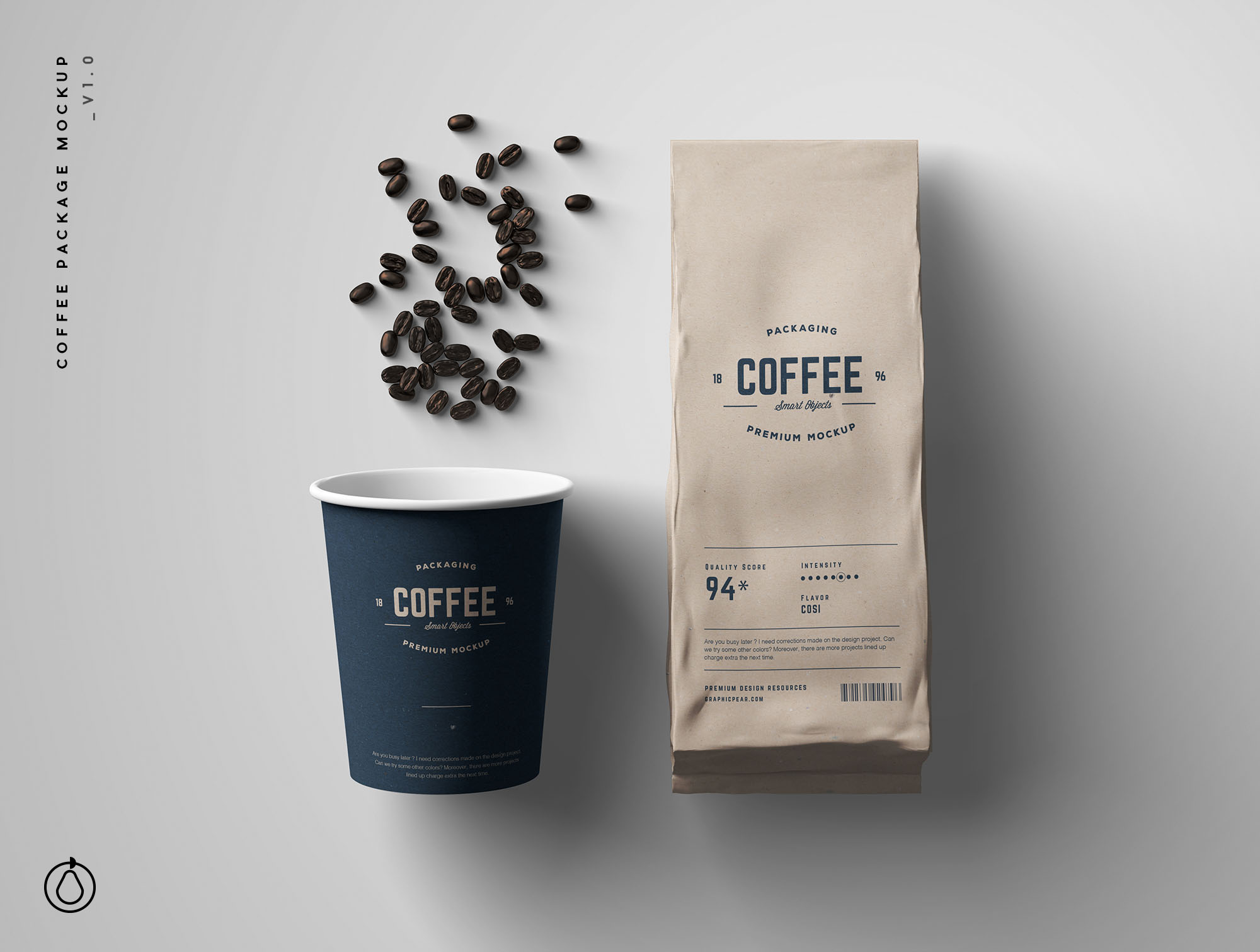Coffee Packaging Bag & Cup Mockup