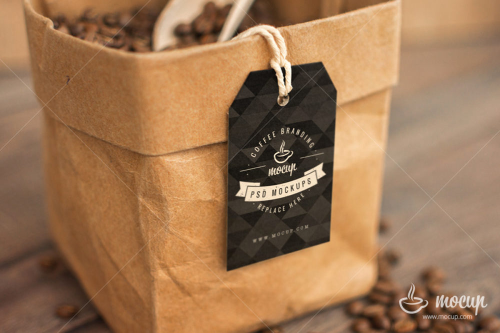 Coffee Packaging Bag With Black Label Mockup