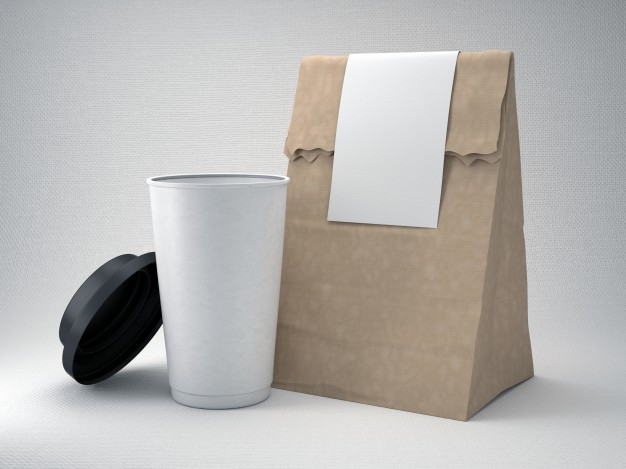 Coffee Packaging Bag With Coffee Cup Mockup
