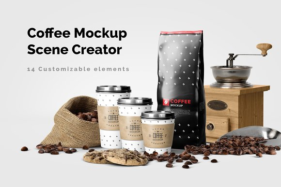 Coffee Scene 14 Customizable Elements Mockup