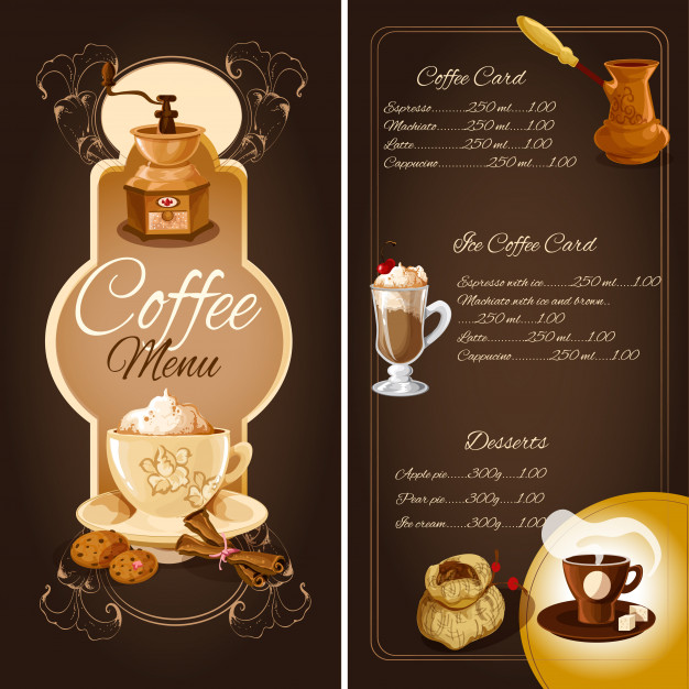 Coffee cafe menu Mockup