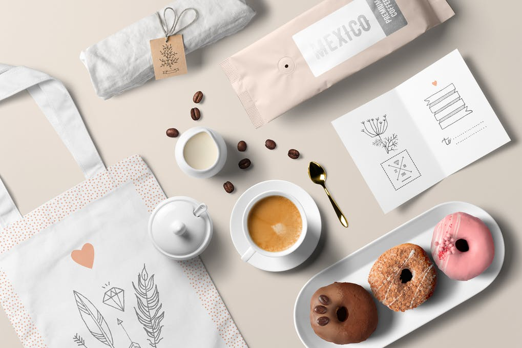 Coffee with bakery items PSD
