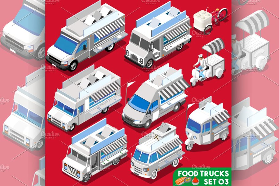 Collection Of White Food Truck PSD