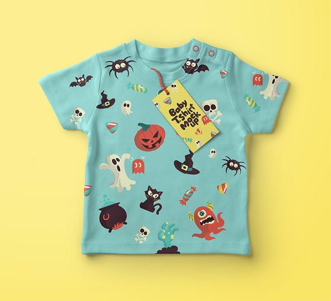 Colorful Baby T-shirt Psd Mockup template