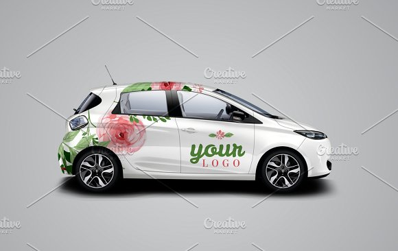 Colorful Car Mockup.