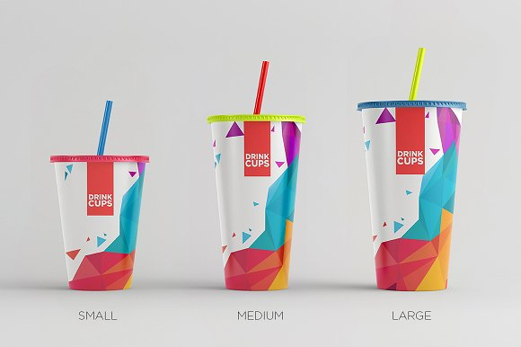 Colorful Paper Made Drinking Cup Mockup