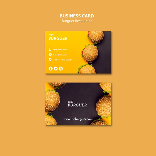 Colorful burger restaurant business card Free Psd