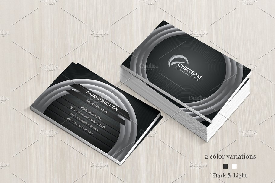 Concentric Circle Printed Business Card Mockup