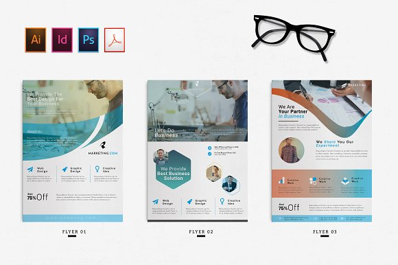 Corporate Design A4 Flyer PSD Ai ID Mockup With Specs Beside