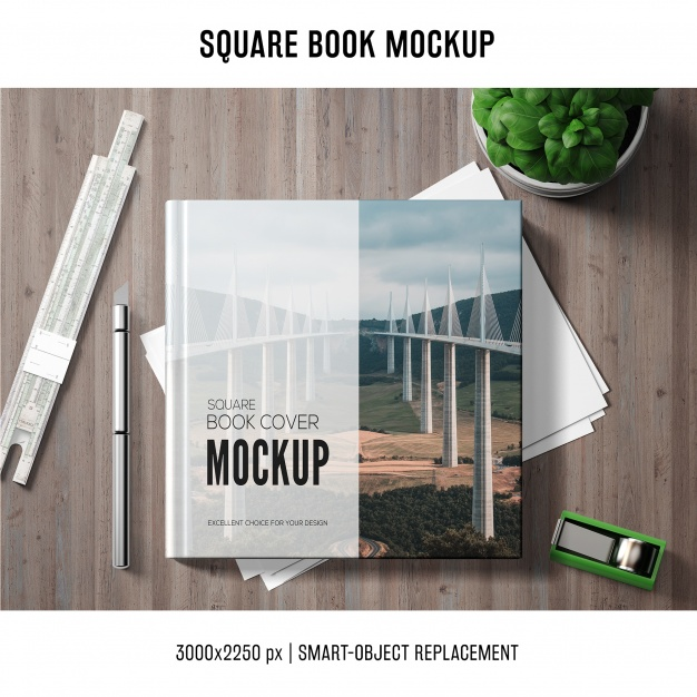 Corporate Scene Printed Square Book Design Template
