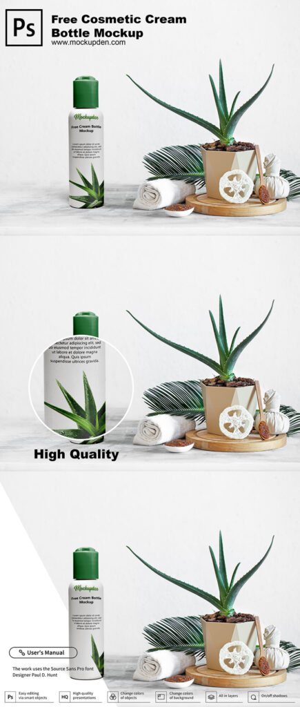 Free Cosmetic Cream Bottle Mockup PSD Template
