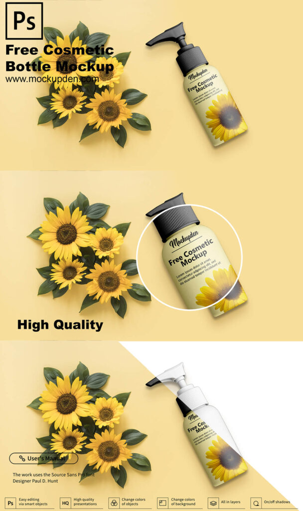 Free Cosmetic Bottle Mockup PSD Template 1