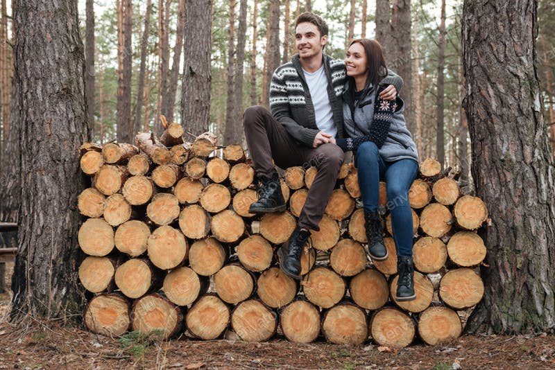 Couple Sitting On Cutted Wooden Stem Mockup