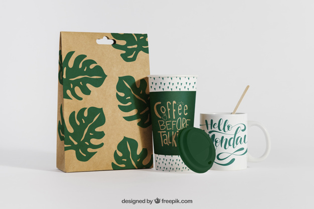 Creative Leaves Print Paper Coffee Bag And Cup Mockup