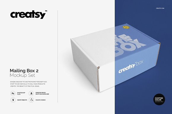 Creatsy White Color Mailing Box Customizable Template