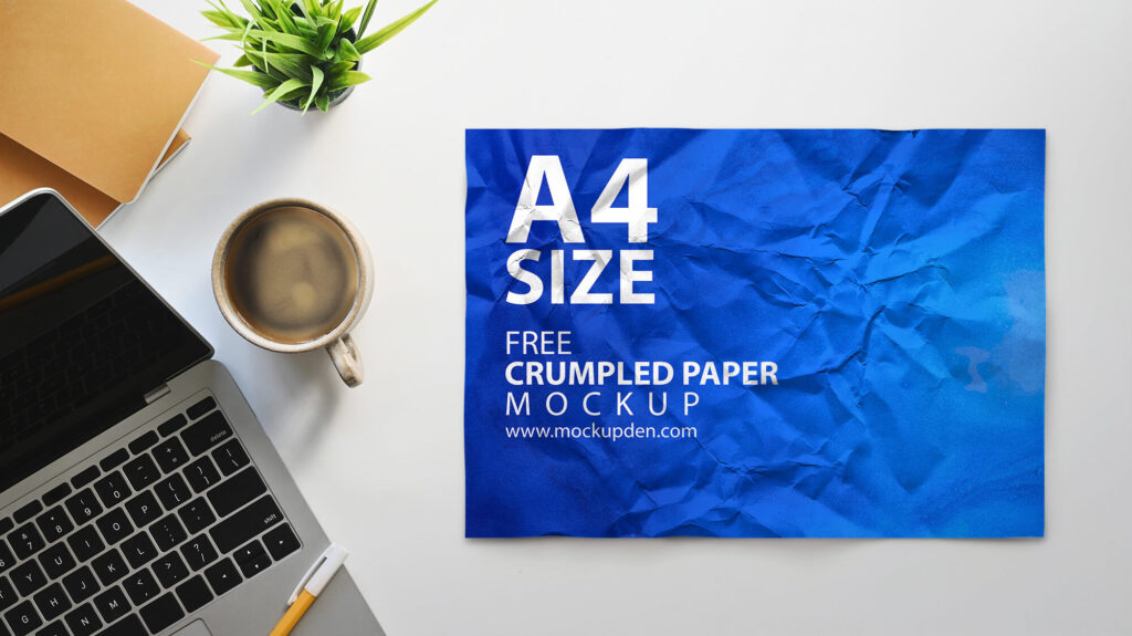 Free Crumpled Paper Mockup PSD Template