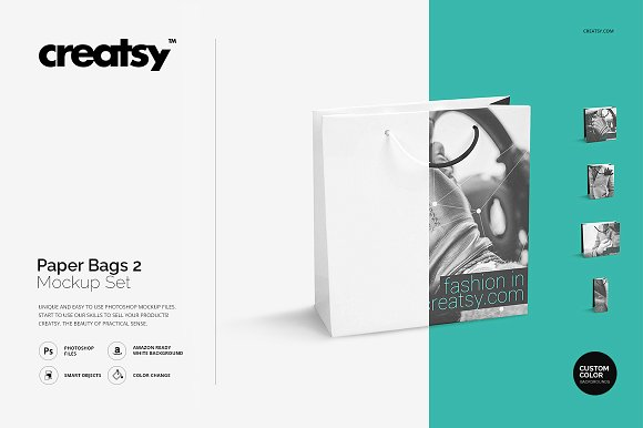 Custom Color Gift Bag PSD Design template