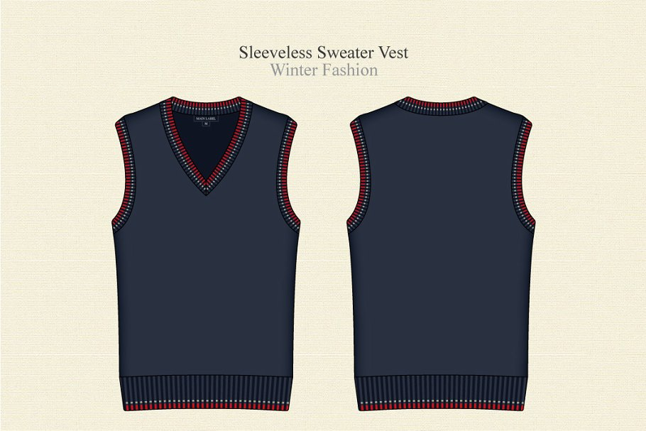 Customizable Men's Sleeveless Sweater Vest Template.
