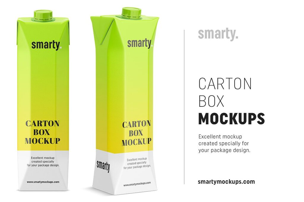Cylinder Shaped Juice Box Mockup.