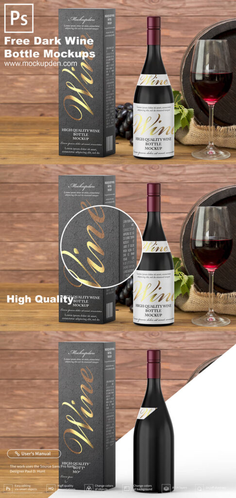 Free Dark Wine Bottle Mockup PSD Template
