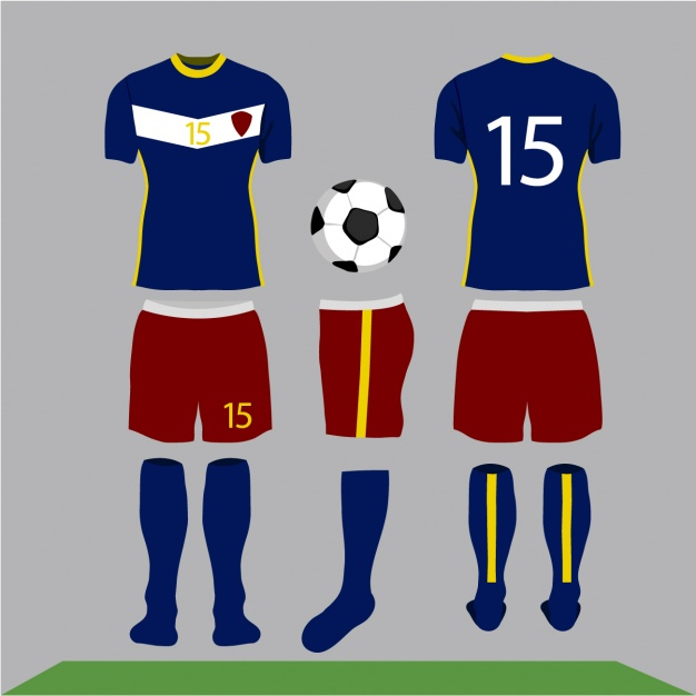 Deep Blue Soccer Jersey With Yellow Outline On it