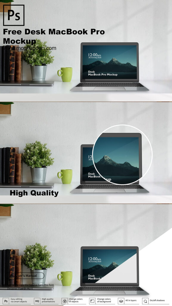 Free Desk MacBook Pro Mockup PSD Template