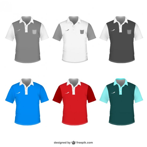 Different Bi-coloured Polo t-shirt for men Vector Format