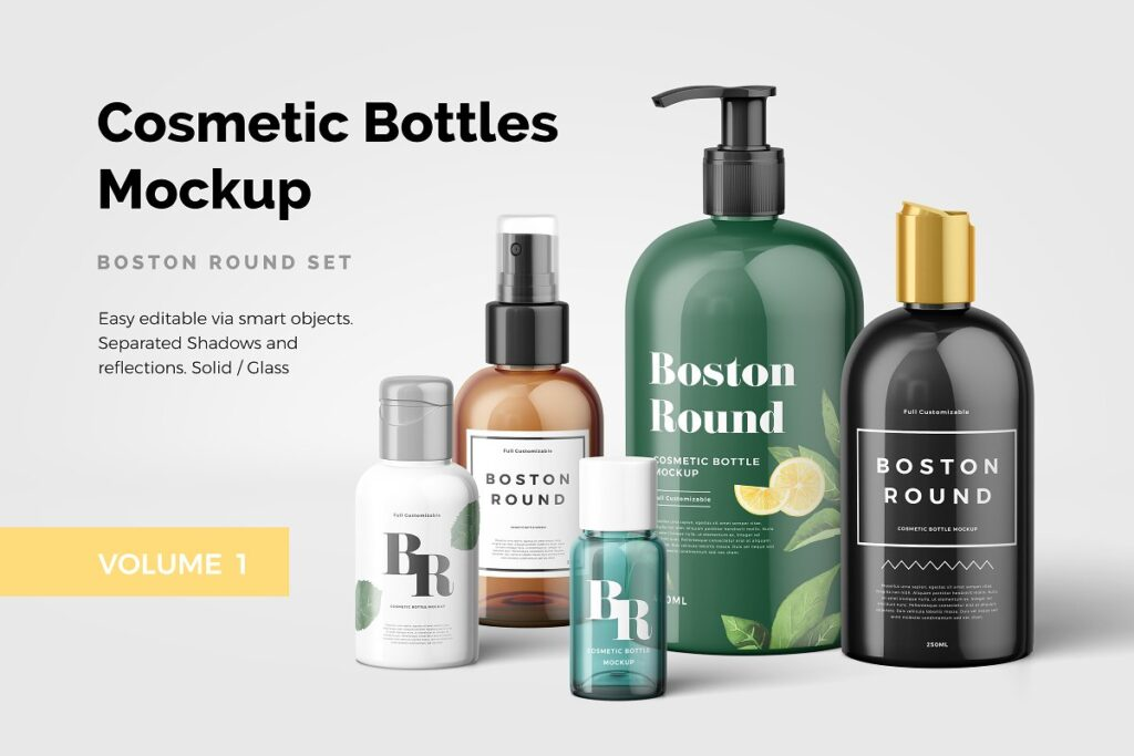 Different Designs Of Cosmetic Bottles Mockup