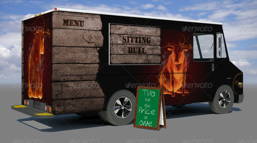 Different Designs Of Food Truck Mockup.