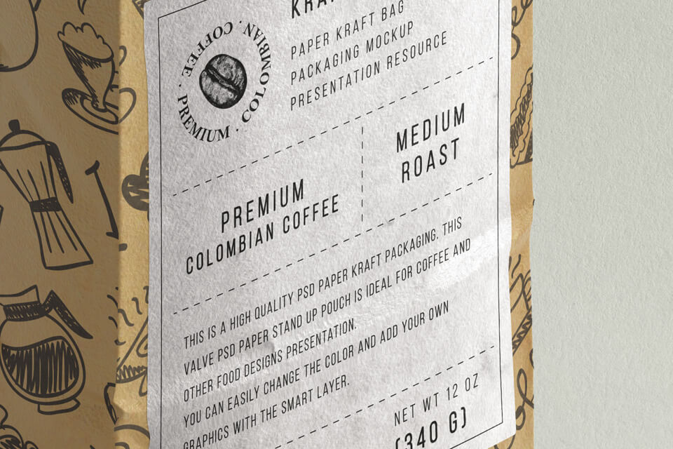Different Elements Printed Kraft Paper Made Coffee Bag Mockup