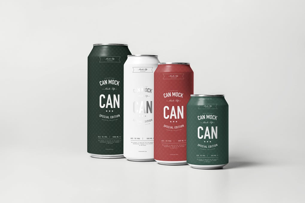 Different Sized Energy Drink Cans Mockup
