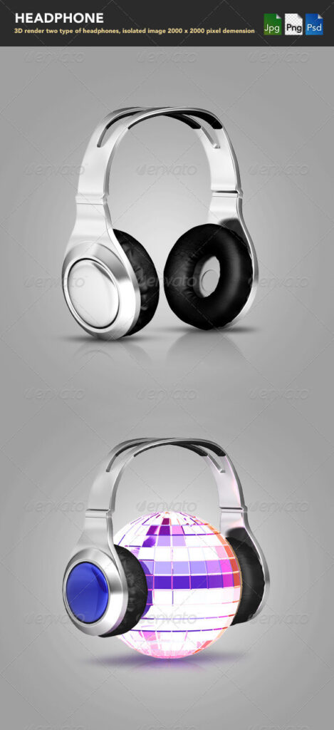 Digital Headphones PSD Mockup.