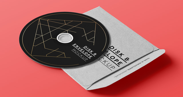 Disk And Envelope Cover Mockup