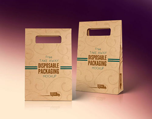 Disposable Food Paper Packaging Bag Mockup